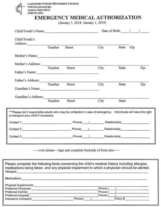 2018 Summer Fun Emergency Form