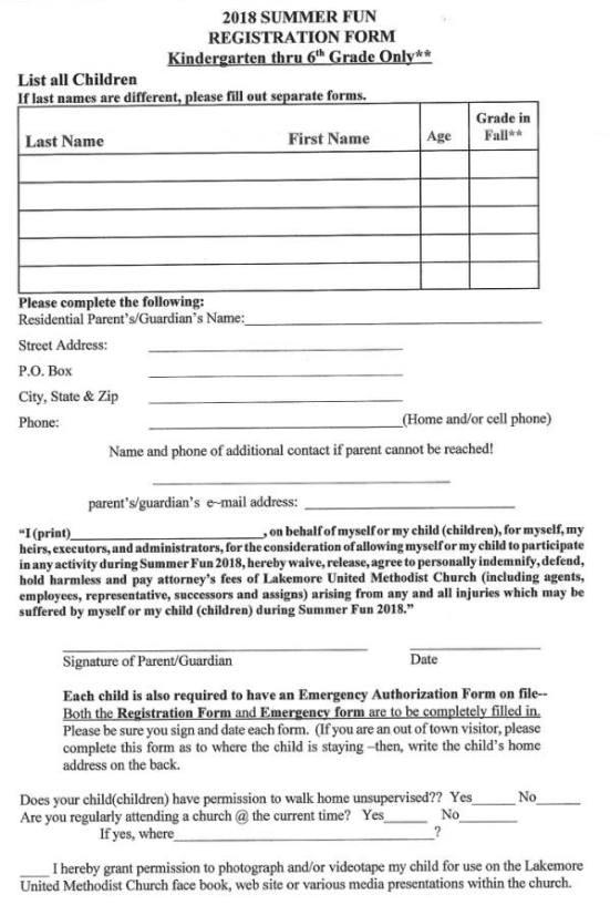 2018 Summer Fun Registration Form